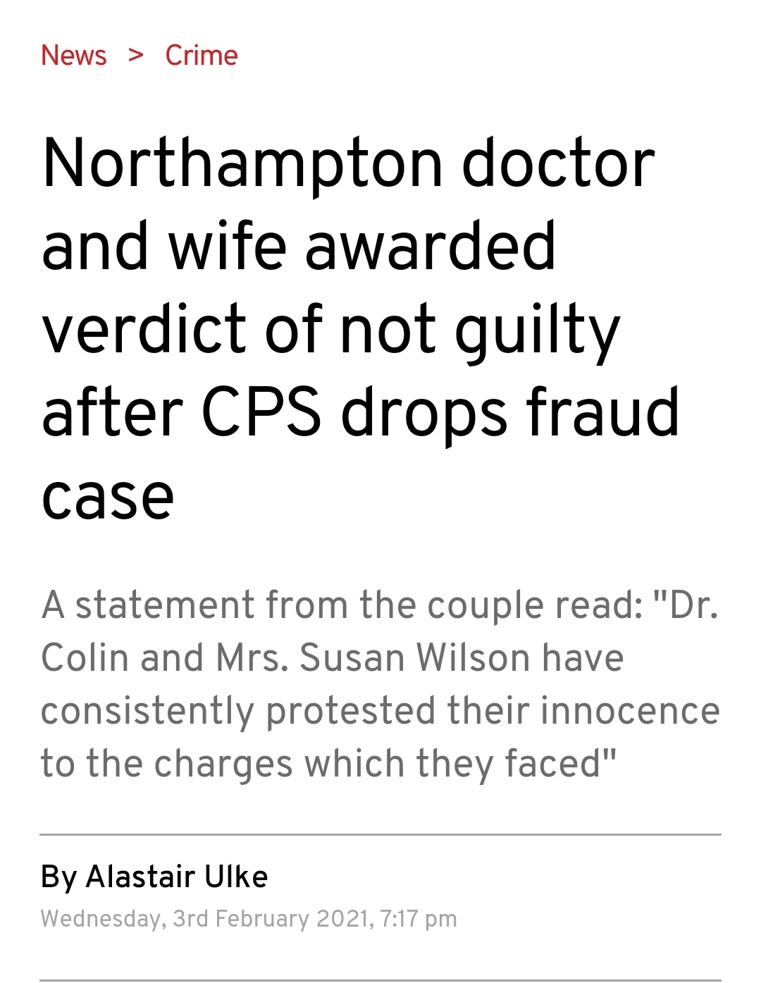 In the Press- Success for couple after long running fraud allegation stopped in the Crown Court